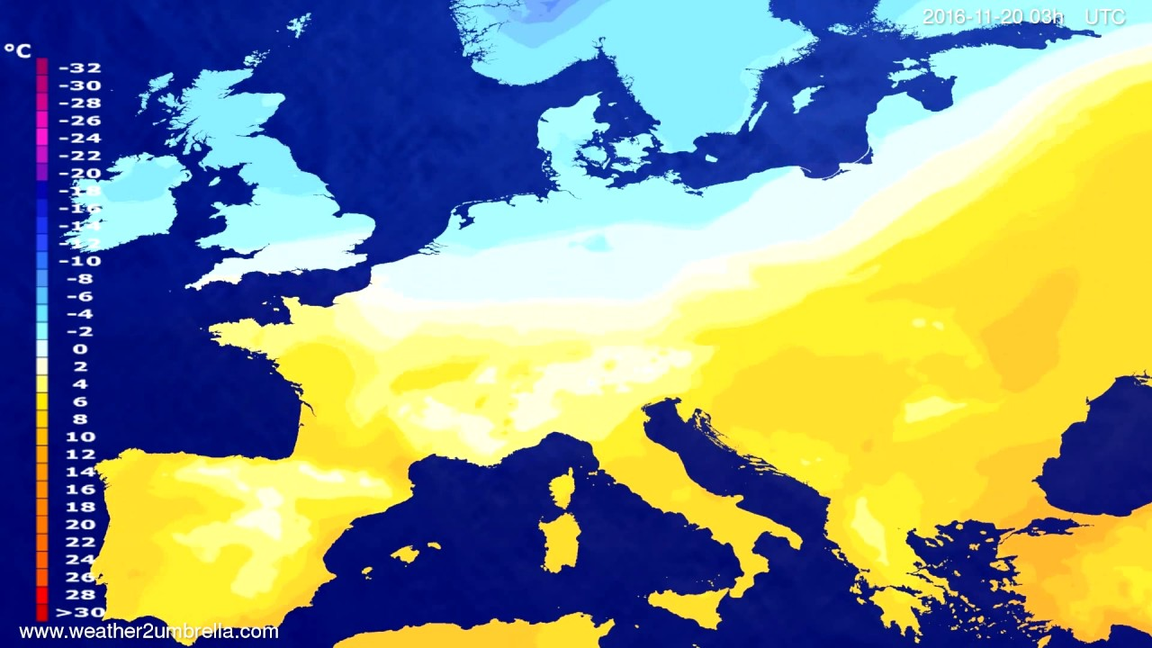 Temperature forecast Europe 2016-11-17