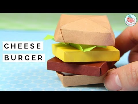 Origami Cheeseburger Tutorial - How to Fold an Origami Cheese Burger - Origami Food Tutorial!