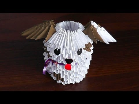 3D Origami Dog (puppy) Assembly Diagram (Tutorial)