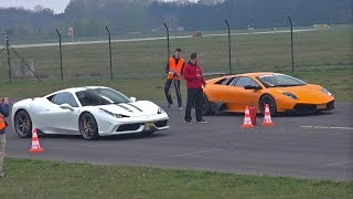 I have filmed a beautiful white Ferrari 458 Speciale in action on the dragstrip racing against other supercars, like an orange ...