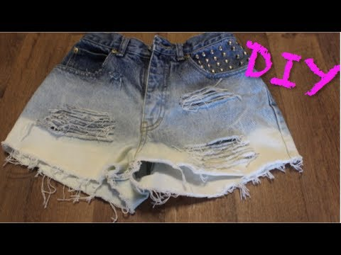 Distressed - Easy tutorial on how to make super fab distressed ombre high-waisted studded shorts! *THUMBS UP for more DIY's!* VIDEO ON MY HAIR: http://www.youtube.com/wat...