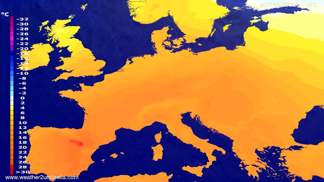 Temperature forecast Europe 2017-06-20