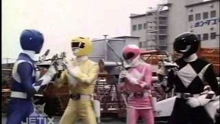 The Power Rangers use the Thunder Slingers (Super Blasters) to fight Finster's Super Putties. This scene is from Mighty Morphin...