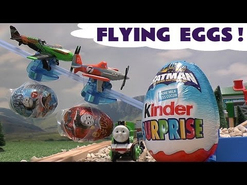 thomas - Disney Kinder Surprise Eggs, a Kinder Surprise Batman Easter Egg and Thomas and Friends Surprise Eggs are delivered by Disney Planes Dusty and Ripslinger to ...