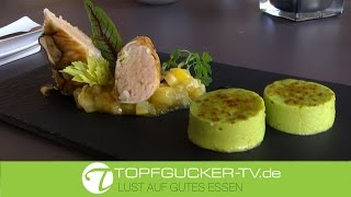 Cannelloni von Langburkersdorfer Saibling & Kräuterseitling mit Zitronenconfit und Avocado – crème brûlée