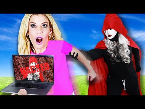 We Escape HACKER Hide And Seek Chase With FIRST E3 Laptop To Save Game Master! | Rebecca Zamolo