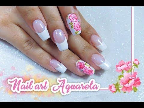 Unhas Decoradas Rosa Aquarela iniciantes  Nail Art Watercolor flower  Aline Makelyne