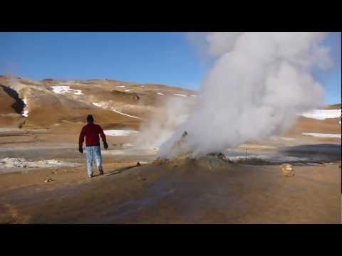 fumarole - The Hverir geothermal area is in the Krafla caldera near the Lake Mývatn area in northern Iceland. It has fumaroles (steam vents) like this one, bubbling mud...