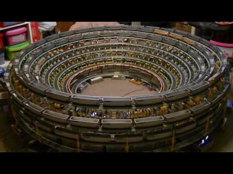 The Downward Spiraling Helix With A Scale Model Train And
