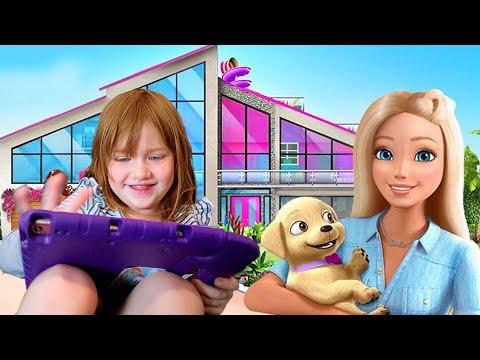 ADLEY iPAD TOUR!! playing Barbie Dream House, Princess Makeover, Toca Town pretend play, app reviews
