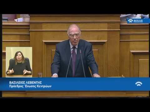 Β.Λεβέντης(Πρόεδρος Ένωσης Κεντρώων)(Συζήτηση για την αναθεώρηση του Συντάγματος)(14/11/2018)