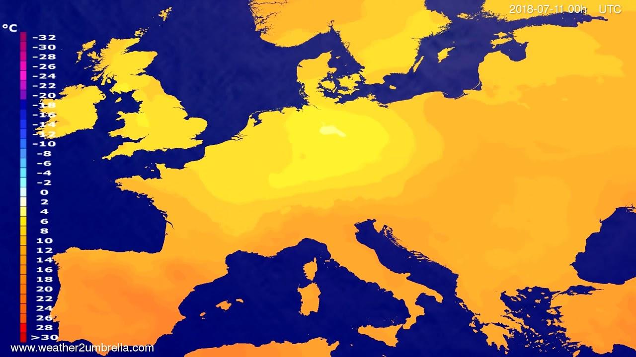 Temperature forecast Europe 2018-07-08