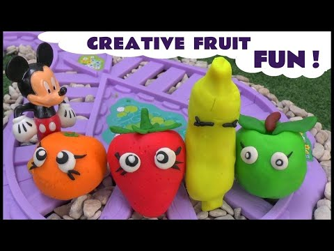 minnie - There are 4 Play Doh Fruit at the Shopkins Small Mart. Each contains a surprise toy. Minnie Mouse and Mickey Mouse take it in turns to go shopping arriving o...