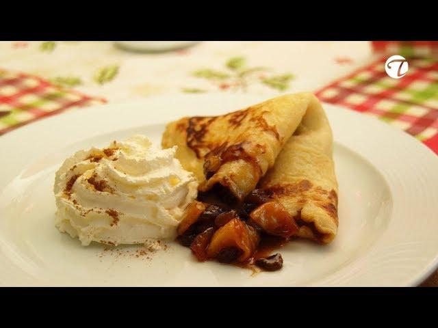 Sächsische Buttermilchplinse mit flambierten Apfelstücken   Dessert   Sächsisch   Topfgucker-TV