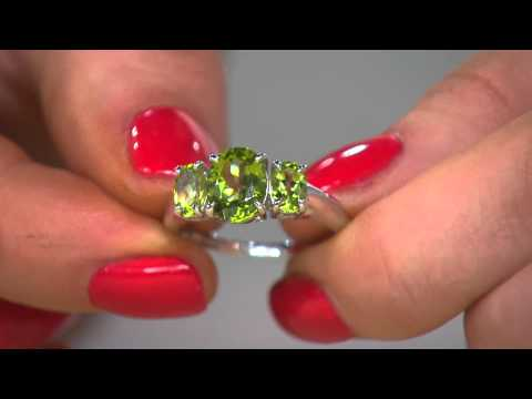 Peridot 3-Stone Sterling Silver Ring, 2.20 cttw with Courtney Cason