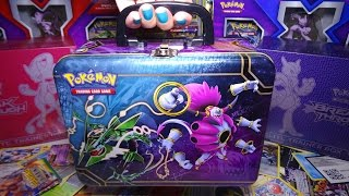 Opening / Unboxing the Pokemon TCG Collector Chest Lunchbox Tin Featuring Rayquaza & Hoopa, with 5 Packs, 3 Promo cards, and much more inside!My Facebook https://www.facebook.com/xINVISIGOTHxThis Pokemon Treasure Chest would make a great gift for any Pokemon fan! It contains 5 TCG card packs, 3 speacial foil promo cards, a Hoopa coin, 2 sticker sheets, a mini card album for storing cards, a notepad and 4 pencils, and a BONUS code card for the TCG Online (bonus card is behind the 3 foil promos).Music by Kevin MacLeod