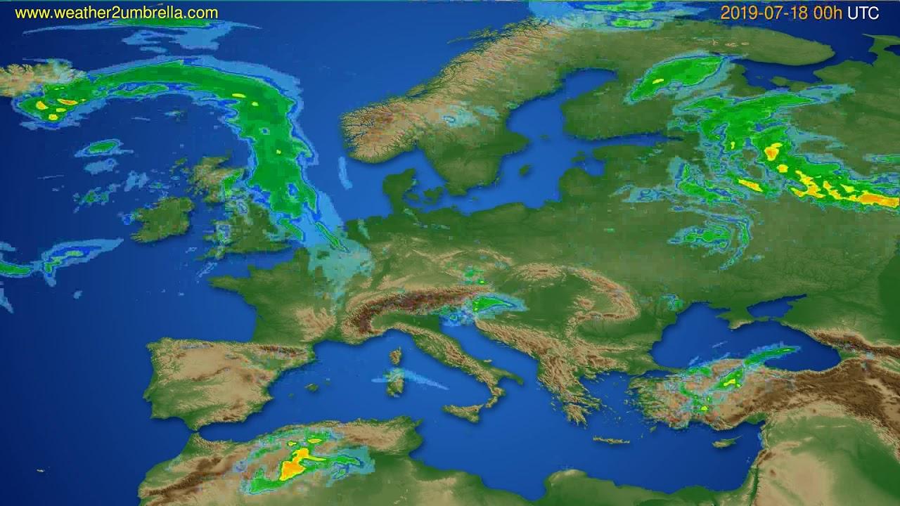 Radar forecast Europe // modelrun: 12h UTC 2019-07-17