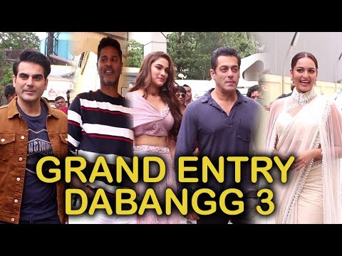 Grand Entry Salman Khan, Sonakshi Sinha , Arbaaz Khan & Prabhu Deva At Trailer Launch Of Dabangg 3