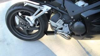 9. Honda VFR800 Exhaust XBST Extremeblaster with Delkavic Header Baffle in with plug removed