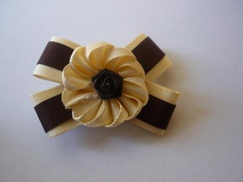 como hacer flores en cinta gross para decorar moños de niñas No.78