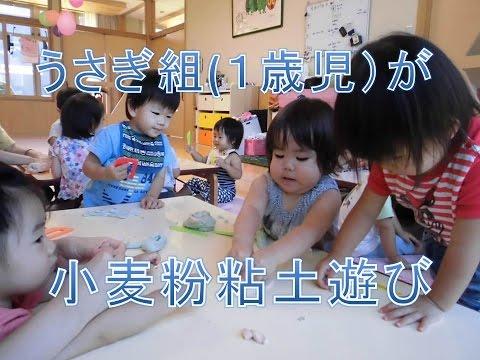 保育園で1歳児が小麦粉粘土で遊びました。