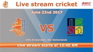 Follow the whole cricket game between The Netherlands and Zimbabwe.