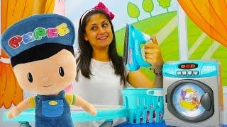 ayşe pepee ve oyuncak çamaşır makinesi. çamaşır yıkama ve ütüleme oyunu
