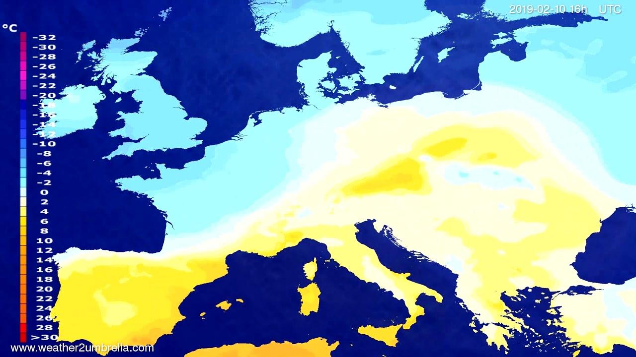 Temperature forecast Europe 2019-02-09