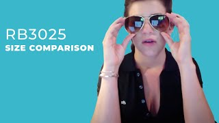 Size Comparison RB3025 Ray-Ban Aviators 55mm, 58mm, 62mm (Sung...