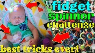 """We have got some super rare and super pretty fidget spinners!  We even have some that light up and some that glow in the dark! In today's video, the kids do a few challenges that they made up with their spinners.  They also show off some of their best tricks--and my personal favorite part is when we decided to get baby Owen involved.  I think he is probably the most talented baby to play with a fidget spinner, don't you agree??  ;) Meet us in person and we will give you one of these spinners, signed!! Thanks for watching!  Don't forget to give us a THUMBS UP! Please subscribe to our channel & the kids' channels!http://bit.ly/FFPSubscribehttp://bit.ly/AlwaysAlyssaSubscribehttp://bit.ly/SubDudeItsDavidhttp://bit.ly/SubTwinTimehttp://bit.ly/SubMichaelsMPshop our video:Zuru Fidget Spinner: https://www.walmart.com/ip/ZURU-Fidget-Spinner/55700522Other Fidget Spinners:Gold https://goo.gl/RiA4r4Blue https://goo.gl/UjcyrCRed https://goo.gl/ZrhE94Green https://goo.gl/aXCajKBlack https://goo.gl/gQonL3Want to send fan mail?  You can find our address in our """"about"""" section here on YouTube.Find pictures, updates, and more about Family Fun Pack: Facebook: http://bit.ly/FamilyFunFBTwitter: http://bit.ly/FamilyFunTwitterInstagram: http://bit.ly/FamilyFunIGMatt's Instagram: http://bit.ly/DaddyFunPackIGMatt's Twitter: http://bit.ly/DaddyFunPackAlyssa's Instagram: http://bit.ly/2dLKBE6David's Instagram: http://bit.ly/2dsNQAmZac's Instagram: http://bit.ly/2dL1JocChris' Instagram: http://bit.ly/2dL34vVMichael's Instagram: http://bit.ly/2cTen8zNew videos posted daily! Challenges, Epic Road Trips, Vlogs, Toys,  Clothes, Food, and lots of other fun things!  Family Fun Pack is a family of 6 kids: Alyssa, David, Zac & Chris, all born within 39 months of each other.  After those four, we had our precious son Michael and then our sweet new baby Owen!  Our motto is """"fun with the family, every day""""! We like to do videos with Play Doh, Costumes, Superheros, Hot Wheels, Surprise Eggs, holidays like"""
