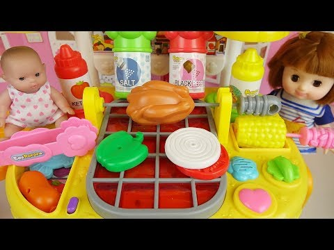 Baby doll kitchen grill cooking toys baby Doli play