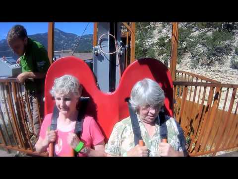 Two 73 year-old friends ride the Terror-Dactyl in Colorado