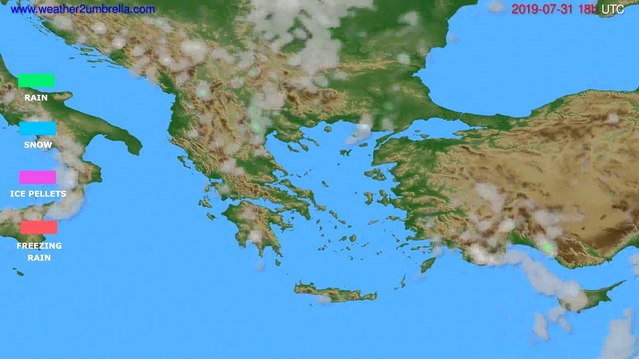 Precipitation forecast Greece // modelrun: 12h UTC 2019-07-29