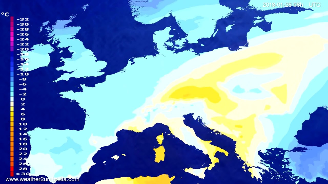 Temperature forecast Europe 2018-01-23