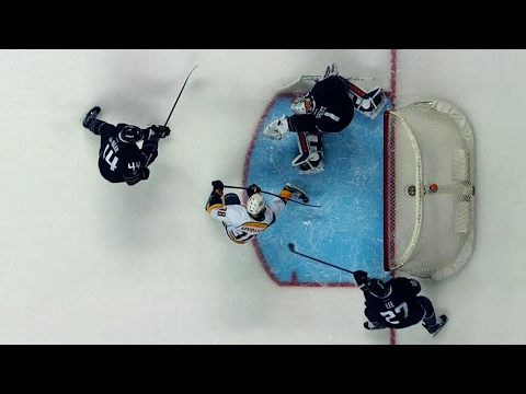 Arvidsson just barely gets stick on puck to count for goal