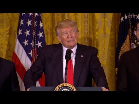 President Donald Trump participates in jobs announcement at the White House