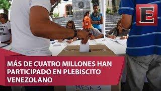 Más de cuatro millones de venezolanos se habían pronunciado al mediodía en la consulta popular organizada por la oposición para dejar en evidencia el rechazo de la población a la convocatoria de una Asamblea Constituyente.16 de julio 2017COMENTA ESTE VIDEO Y COMPARTELO CON TUS AMIGOSPara más información entra: http://www.youtube.com/excelsiortvNo olvides dejarnos tus comentarios y visitarnos enFacebook: https://www.facebook.com/ExcelsiorMexTwitter: https://twitter.com/Excelsior_MexSitio: http://www.excelsior.com.mx/tvSuscríbete a nuestro canal: https://www.youtube.com/channel/UClqo4ZAAZ01HQdCTlovCgkA