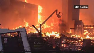 A huge fire erupted at an under-construction apartment complex in Boston. Report by Jessica Wakefield.