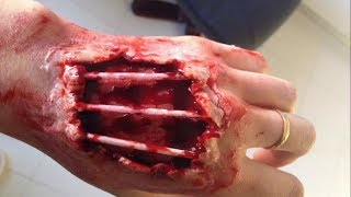 Hacked Hand With Exposed Bone - SFX Makeup Tutorial