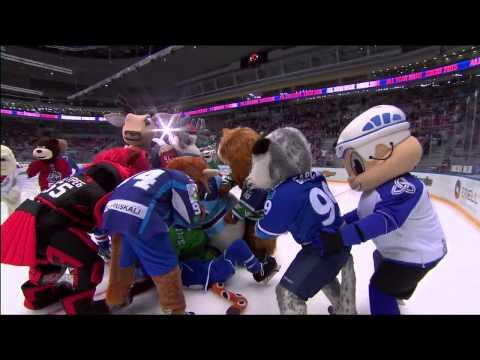 Матч Звезд 2015: драка маскотов / KHL ASG'15: Huge mascot brawl (видео)