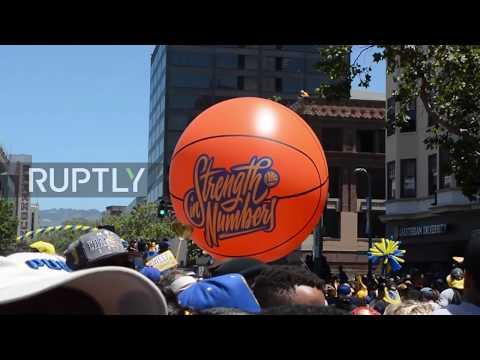 USA: NBA champions Warriors open-top bus victory parade