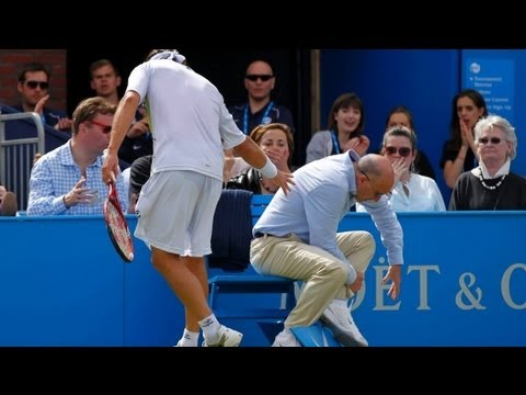 disqualfied - David Nalbandian angrily kicks Linesman and gets disqualified - Queens 2012 Final david nalbandian kicks linesman violence in queens final bbc one 2012 marti...