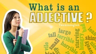 "Adjectives help to express more about the person, animal, thing or place you are talking about. They describe the noun in a sentence and add meaning to it. Adjectives answer the question, ""what kind?"" or ""how much?"" Adjectives are very important parts of speech. Without them our language would be colorless and bland. Think of the difference between saying ""this is an apple,"" and saying ""this is a red, juicy, delicious apple.""This lesson has examples and sample conversations which will show you some adjectives and how they're used.If you like this video, please click the ""like"" button on the YouTube video and subscribe to our channel for more lessons.You can also connect with us via Facebook: http://facebook.com/twominenglishPlease visit our website for more lessons, articles and exercises: http://twominenglish.comGo mobile with Two Minute English. Download our Android app : https://play.google.com/store/apps/details?id=com.astrobix.twominuteenglish"