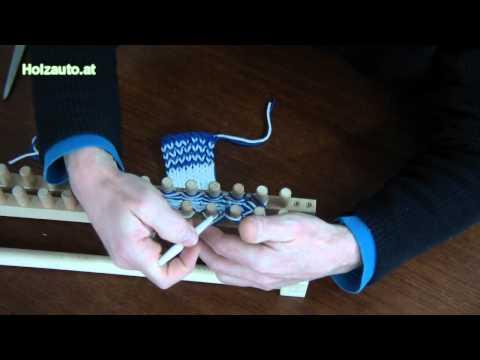 Stricken mit einer Strickbank (doppeltes Gestrick)