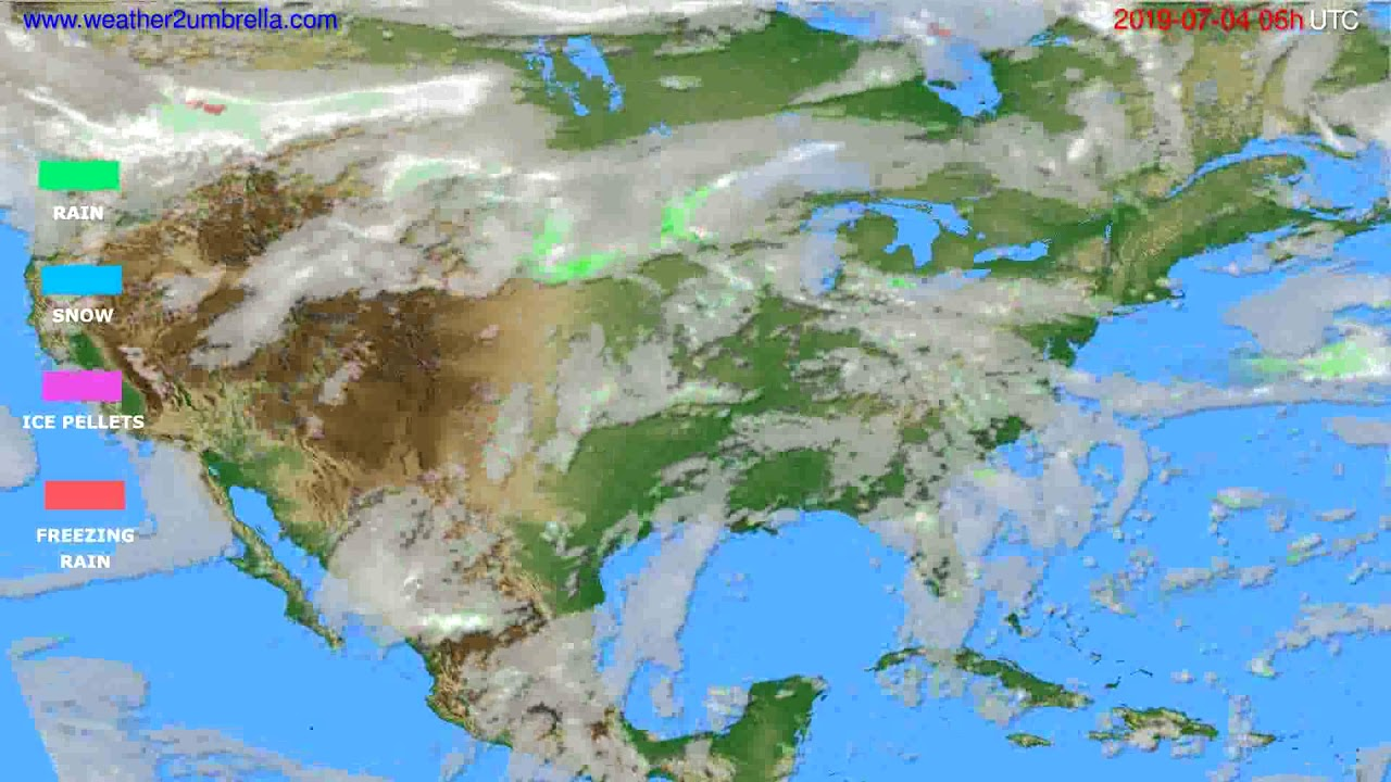 Precipitation forecast USA & Canada // modelrun: 00h UTC 2019-07-02