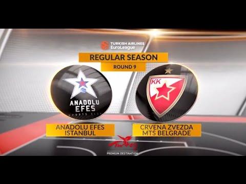 EuroLeague Highlights RS Round 9: Anadolu Efes Istanbul 100-79 Crvena Zvezda mts Belgrade