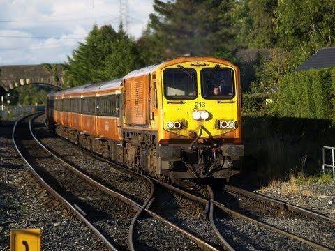 Dublin Cork Line - Iarnród Éireanns 201 class No.213 pulls a rake of BREL built MK2s away from a signal check at Hazelhatch on the Dublin-Cork main line on 12-August-2007. From...