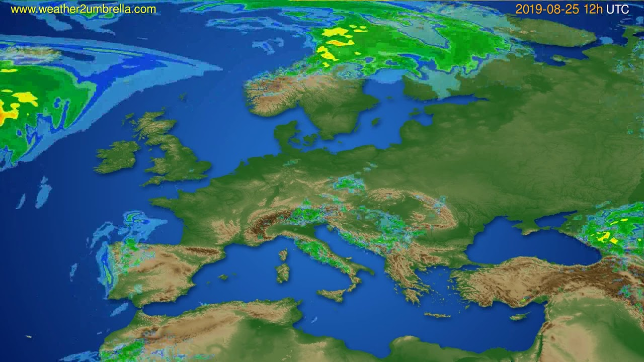 Radar forecast Europe // modelrun: 00h UTC 2019-08-25