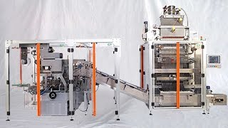 The end packaging line from PENGLAI INDUSTRIAL CORP LTD (webpage at http://penglaichina.com) includes mainly two parts : 1.multilanes packing machine; 2.cartoning equipment; To integrate the two machines the conveyor delivery system should be equipped for connection and feeding the packed bags into the working station of cartoning equipments. Here described the basic information on the machines respectively:The Multilane Stickpack Machine is our latest machine for the production of 'Stickpacks'. The range varies from 4 to 15 lanes depending on the width of the stickpack. Different types of fillers - for liquids, granules and powders - are available. A Human Machine Interface allows the user to control all machine functions - Fill dose, Temperature of the seal bars, Speed of the machine, Stick length - and obtain production data such as Number of sticks produced, Number of rejected sticks, Normal stop-time counter, Alarm-time counter, Machine efficiency, etc.FeaturesHigh performanceAdjustable film tension pneumatically-controlledIndependent seal jawsEasy-clean seal jaws (turnable 180 degrees)Human Machine Interface (HMI) available through a 10-inch color touch-screenThe machine comes with an independent electrical cabineThis is mainly used in medicine, food, health care products, cosmetics, audio-visual products, and other industries square exterior decoration items boxed packaging. Such as kit, gum, health products, tea, sugar, condoms, rubber, mosquito coils, cigarettes, tape, VCD (CD) CD, playing cards, transparent soap, square battery, floppy disks, etc. play a security, the role of moisture, and improve product quality, increase product added value. The machine can use in the production line, work with the carton packing machine.basic parameter of cartoning equipments:model YX-CP100Encasing speed 30-120 case/min Box Quality requirement 250-350g/m*mDimension range (L× W× H) (50-180)mm* (30-85)mm* (15-50)mmLeafletQuality requirement 50-65g/m²Unfolded leaflet speci