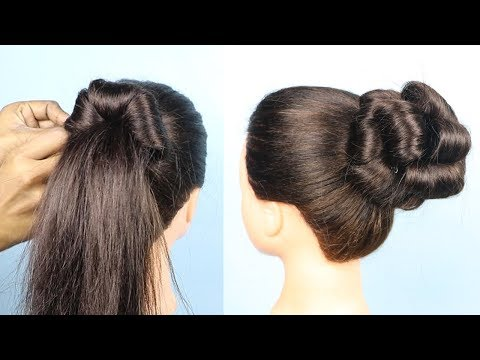 New hairstyle - Easy roll Bun Hairstyle For Party/wedding  hair style girl  hairstyle 2019  easy hairstyle